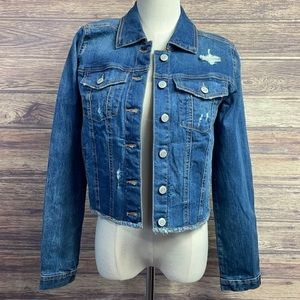 Maurices distressed fringe button up Jean jacket